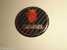 SAAB  CARBON STYLE Bonnet badge 9-3 03-12 & 9-5 97-10 68mm/63mm