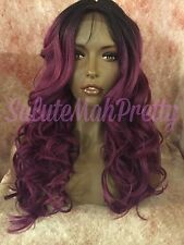 """100% Human Hair Blend 20"""" Loose Curls Middle Part Lace Front Wig"""