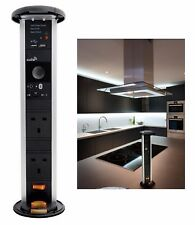 KITCHEN WORKTOP PULL UP SOCKET + BUILT IN BLUETOOTH SPEAKER AND USB PORTS