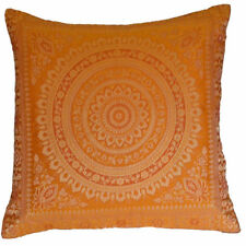 Orange Gold Mandala Cushion Covers Antique Style Banarasi Indian 38cm