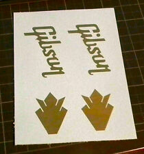 2 Gibson Guitar Headstock Logos Wth Crown Logo Any Color Waterslide Decals