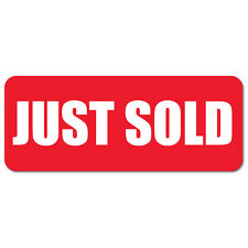 """2.5"""" x 1"""" Just Sold, Red Background, Roll of 500 Stickers"""