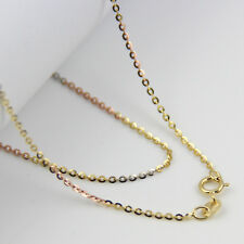 16INCH 18K Multi-tone Gold Necklace 1.2mm O Link Chain Stamp: Au750
