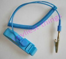 ESD Antistatic adjustable wrist strap & coiled cord 10mm stud to banana/croc set