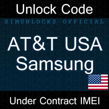 Unlock Code Samsung Galaxy S7 S6 Edge S5 S4 Note AT&T USA
