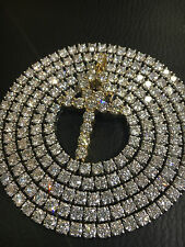 35.00ct Mens 14K White Gold Round Real si2 Diamond Tennis Chain Necklace