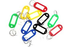 Lot 12 New Plastic Key rings Tags ID Labels Red Yellow White Green Blue Black