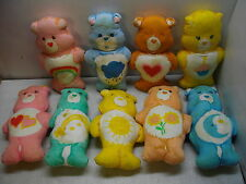 "9 VINTAGE CARE BEARS MATERIAL PLUSH FABRIC PANELS STUFFED HAND SEWN 13"" PILLOWS"