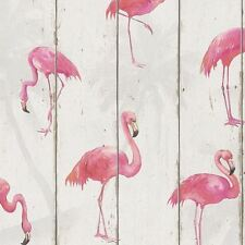 RASCH BARBARA BECKER FLAMINGO WALLPAPER - WHITE 479720 WOOD PANEL NEW