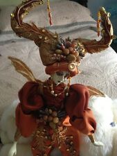 "Gorgeous Porcelain Jester Doll 17"" in Beautiful Bronze & Gold Costume"