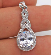 18K White Gold Filled - Oval MYSTICAL Topaz Waterdrop Women Prom Pendant 8 Color
