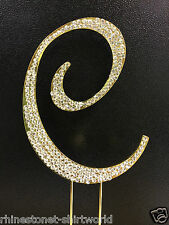 "GOLD Plated Rhinestone  Monogram Letter ""C""  Wedding Cake Topper  5"" inch high"