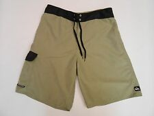 QUIKSILVER Youth Men Board Swim Shorts Trunks Solid Olive/Gray Size 32