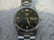 Vintage Seiko 5 Automatic wrist watch stainless band 6309-8940 A2 runs nice mens