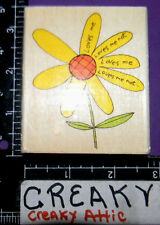 LOVES ME DAISY PETALS FLOWER RUBBER STAMP UPTOWN