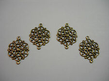 Oxidized Brass Victorian Floral Filigree Earring Drops Connectors 4
