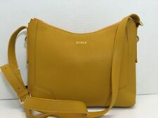 NWT FURLA PERLA Shoulder Bag Leather Aubergine 783402 Girasole Yellow $298