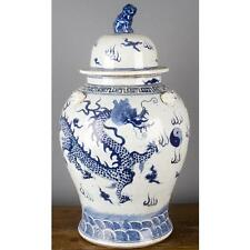 "24"" Chinese oriental porcelain ginger jar  blue & white lion finial dragon"
