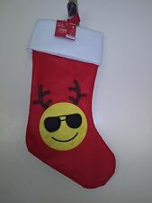 Red  and White  Christmas Stocking With Yellow Smiley Face