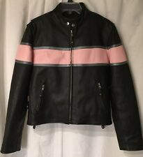 WOMENS LARGE HOT LEATHERS BLACK PINK MOTORCYCLE BIKER JACKET QUILTED LINING