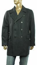 New Alfani Slim Fit Faux Leather Trim Wool Blend Double Brest  Peacoat Coat L