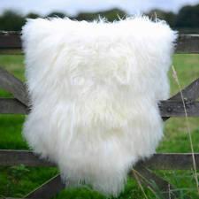 Amazing extra large genuine - soft thick wool sheepskin rug - white