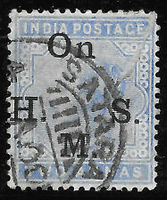 INDIA QUEEN VICTORIA two annas - blue OP on HMS SATARA PM