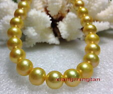 "AAAAA 17""11-12mm Natural real round south sea golden yellow pearl necklace 14K"