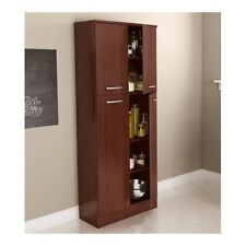 Food Pantry Cabinet with Doors Tall Wood Free Standing Kitchen Storage Cherry