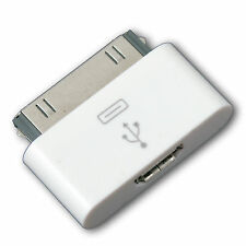 30 pin macho Estación a conector Micro USB PARA IPHONE IPAD IPOD - Blanco Color