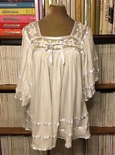 Designer CAROLINA K white crochet draped blouse shirt top S UK 8-10 summer