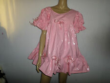 "ADULT BABY SISSY FETISH NOISY THICK  PINK PLASTIC DRESS 44"" PRETTY FRILLY"