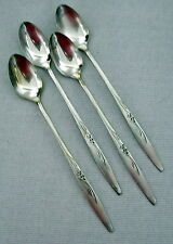 Oneida Community Silverplate ENCHANTMENT GENTLE ROSE FLATWARE 4 ICED TEA SPOONS