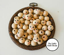 20 x 14mm Smiley Face Round Wood Spacer Bead Varnished Wooden Beads Ball Smile
