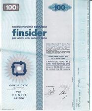 FINSIDER 100 AZIONI CERTIFICATO AZIONARIO 1968 SIDERURGICA - STOCK CERTIFICATE