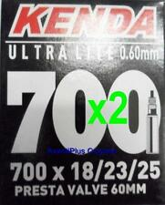 2x Kenda 700c PRESTA Ultra Lite Light Road Tube 700x18/23/25 F/V 60mm Valve 68g