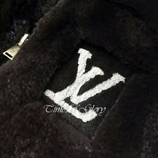 RARE Louis Vuitton LV Logo Black Rabbit FUR Wool Knit Cardigan Jacket Sz S US2 4