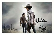 THE WALKING DEAD  - ANDREW LINCOLN & CHANDLER RIGGS SIGNED A4 PP POSTER PHOTO