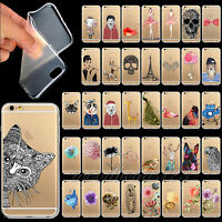 Cute Animal Clear Case Cover For iPhone4 4S 5 5S 6 6S Plus TPU Soft Clear Floral