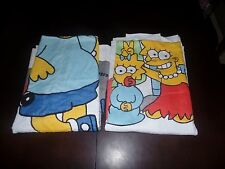 Vintage 1990 The Simpsons Beach Towel Set Lot of 2 Simpsons Family & Bart