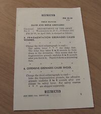 "1951 KOREAN War Era SUPPLEMENT Brochure~""HAND and RIFLE GRENADES""~"