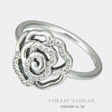 Authentic Pandora Silver Shimmering Delicate Rose CZ Ring Size 50 (5) 190949CZ