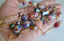 Antique Venetian Murano Millefiori Art Glass Large Beads Necklace Italy