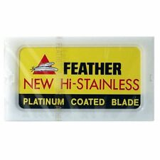 50 FEATHER Hi-Stainless Platinum Coated Double Edge Razor Blades[Yellow box]