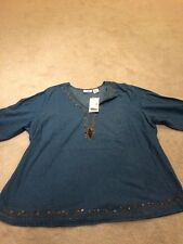 Club Z Denim 2X Over the Head Decorated Neck Top/Blouse/Shirt  w/3/4 Sleeves