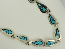 RARE TAXCO ARENAS ESTRADA TA-91 MEXICO 925 STERLING TURQUOISE NECKLACE ~ 69 gm
