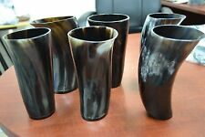 "6 CUPS - POLISHED BLACK WATER BUFFALO HORN MEDIEVAL DRINKING CUP MUG 7"" #A"