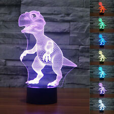 Dinosaur 3D LED illusion Night Light  Change Color Touch Switch Table Desk Lamp