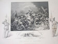 TALLIS ANTIQUE PRINT BATTLE OF HASTINGS CHRISTMAS ENGRAVING 19 CENT VIGNETTE