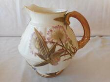 Royal Worcester Large Pitcher Raised Gold Flowers Pink Blue Floral #1185 C 1877
